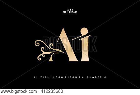 Ai Monogram With Floral Ornament, Initial Letter And Graphic Name Of Floral Designs With Golds Color