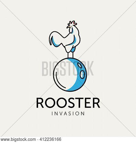 Rooster Invasion Minimalist Logo Design Vector Illustration