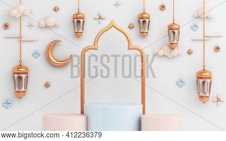 Islamic Display Podium Decoration Background With Arabic Lantern, Crescent Window, Ramadan Kareem, M