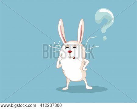 Funny White Rabbit Having Many Questions Vector Cartoon