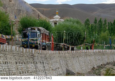 Mulbekh, Ladakh, India - 2nd September 2014 : Truck Carrying Consignment At Ladakh Road. Himalayan M