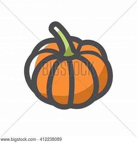 Pumpkin Gourd Vegetable Vector Icon Cartoon Illustration.