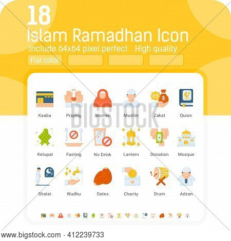 Islam Ramadhan Flat Color Icons Vector Set. Isolated On White Background. Ramadhan Icon With Flat St