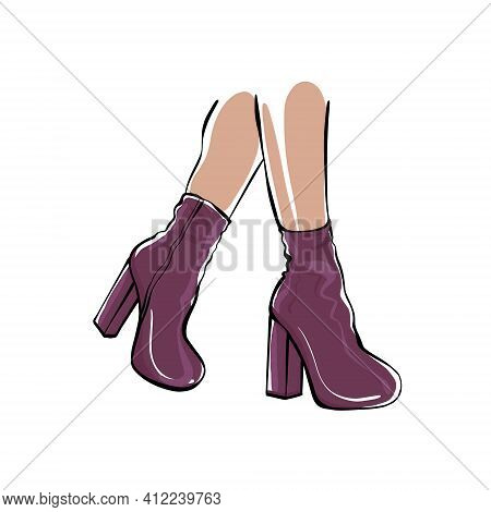 Womens Feet In High-heeled Boots. Fashion Illustration. Womens Legs. Stylish Womens Shoes Sketch.