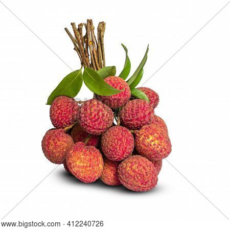 A Bunch Of Red Lychee Berry Fruit And Green Leaf, Isolated On White Background, Die Cut With Clippin
