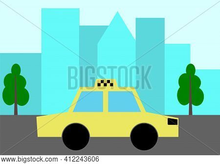 Taxi Driving In A City. Cityscape On Background
