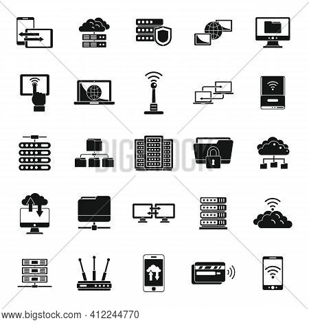 Remote Access Data Icons Set. Simple Set Of Remote Access Data Vector Icons For Web Design On White