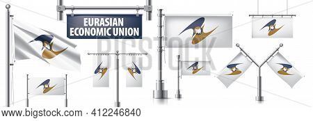 Vector Set Of The National Flag Of Eurasian Economic Union In Various Creative Designs