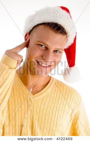 Smiling Man With Christmas Hat