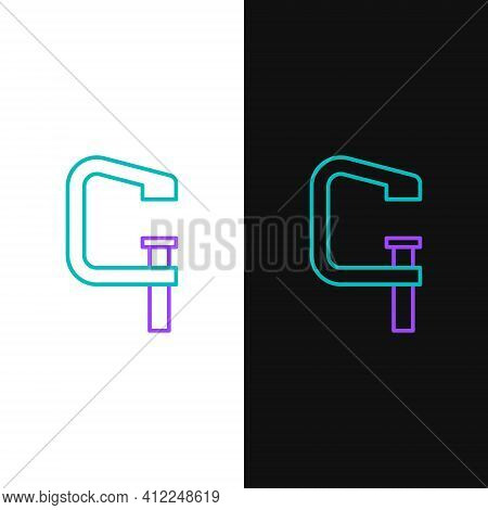 Line Clamp And Screw Tool Icon Isolated On White And Black Background. Locksmith Tool. Colorful Outl