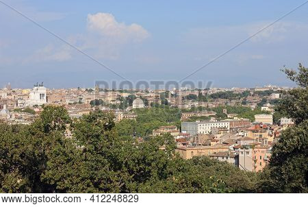 Scenic View From The Top Of The Janiculan Hill Of Rome The Capital Of Italy And You Can Also See The