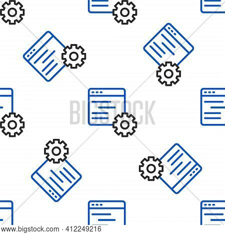 Line Computer Api Interface Icon Isolated Seamless Pattern On White Background. Application Programm