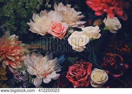Flower Arrangement As Floral Decoration For Wedding And Flowers Shop Decor Concept