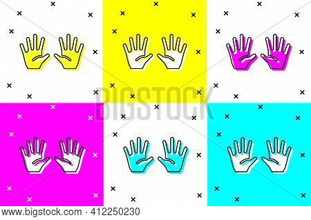 Set Medical Rubber Gloves Icon Isolated On Color Background. Protective Rubber Gloves. Vector