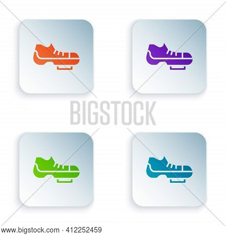 Color Triathlon Cycling Shoes Icon Isolated On White Background. Sport Shoes, Bicycle Shoes. Set Col