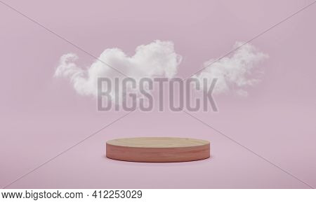 3d Rendering. Minimal Podium Scene With Cloud On Pink Pastel Background. Abstract Platform With Cyli