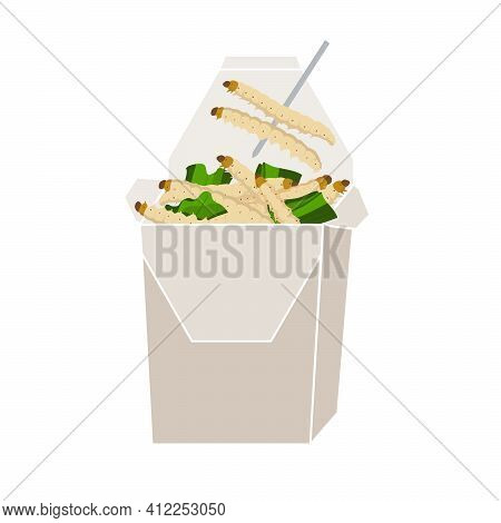 Bamboo Caterpillar Insects For Eating As Food Deep-fried Crispy Snack In Paper Box For Take-away Hom