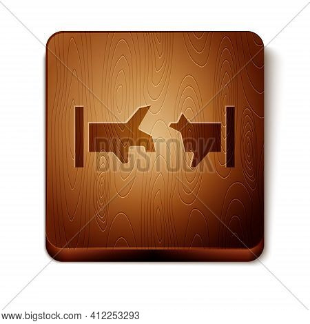 Brown Broken Metal Pipe With Leaking Water Icon Isolated On White Background. Wooden Square Button.