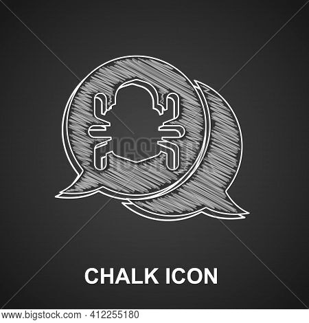 Chalk System Bug Concept Icon Isolated On Black Background. Code Bug Concept. Bug In The System. Bug
