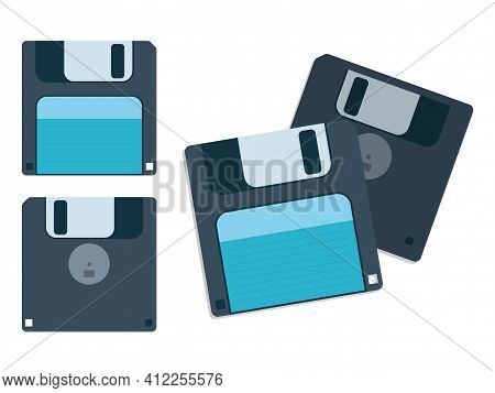 Computer Data Storage Floppy Disc Or Disk Vector Cartoon Graphic Illustration