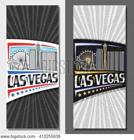 Vector Vertical Layouts For Las Vegas, Decorative Leaflet With Illustration Of American City Scape O