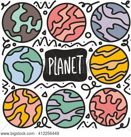Hand Drawn Planets Doodle Set With Icons And Design Elements