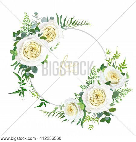 Bright, Light Yellow And Greenery Floral Editable Bouquet Set. Elegant Cabbage Garden Roses, Maidenh
