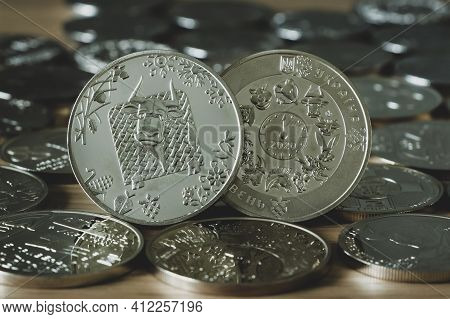Reverse And Obverse Of A Commemorative Coin Dedicated To The Year Of The Bull On A Background Of Dif