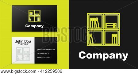 Logotype Line Shelf With Books Icon Isolated On Black Background. Shelves Sign. Logo Design Template