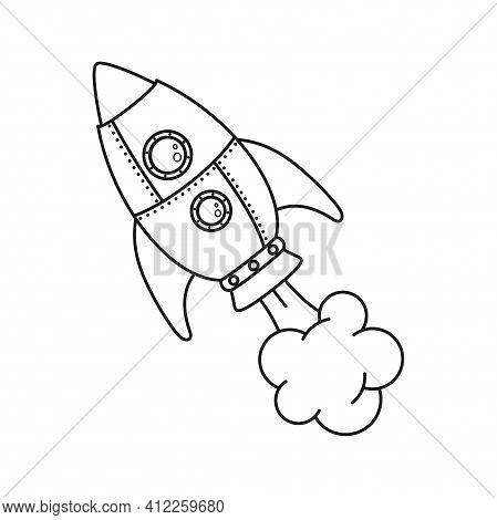 Black And White Flying Rocket Isolated On A White Background. Space Travel. Space Flight. Space Rock