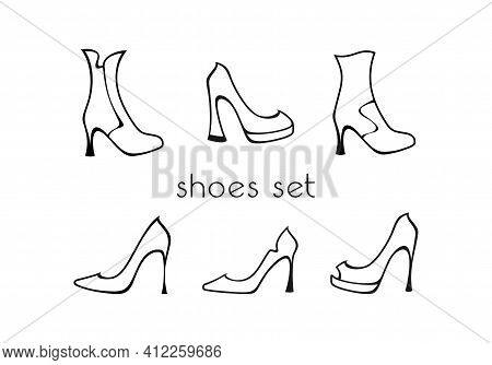 Set Of Black And White Ladies High Heels Shoes And Half-boots Isolated On A White Background. Vector