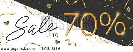 70 Off Discount Promotion Sale Made Of Realistic 3d Gold Number With Sepantine And Tinsel. Vector