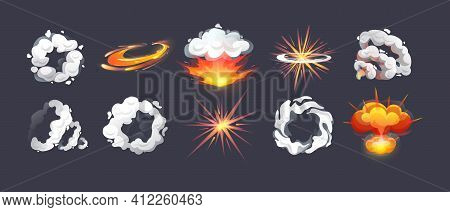 Animation For Game Comic Explosion Effect Frames. Energy Explosion, Flame Smoke Cloud, Motion Blast