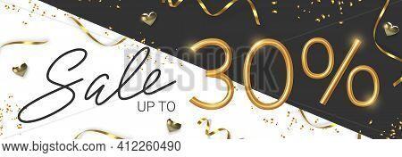 30 Off Discount Promotion Sale Made Of Realistic 3d Gold Number With Sepantine And Tinsel. Vector
