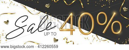 40 Off Discount Promotion Sale Made Of Realistic 3d Gold Number With Sepantine And Tinsel. Vector