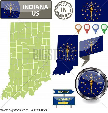 Map Of Indiana State, Us With Flag And Counties. Vector Image