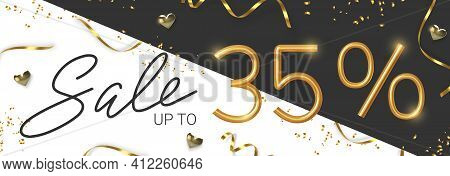 35 Off Discount Promotion Sale Made Of Realistic 3d Gold Number With Sepantine And Tinsel. Vector