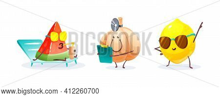 Funny Fruits And Vegetables Cartoon Character. Character Watermelon Resting On The Beach And Drinkin