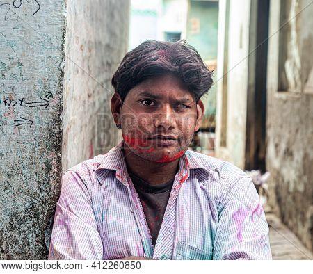 March 2021 Vrindavan,uttar Pradesh ,india. Portrait Of A Man Celebrating Holi At Barsana On Holi Fes