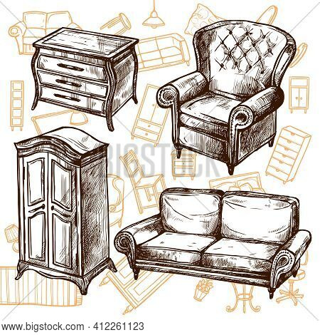 Vintage Furniture Chair Sofa Cabinet And Dresser Doodle Sketch Hand Drawn Concept Vector Illustratio