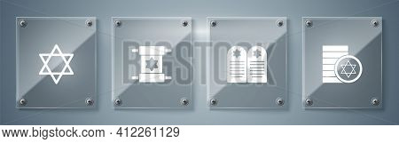 Set Jewish Coin, Tombstone With Star Of David, Torah Scroll And Star David. Square Glass Panels. Vec