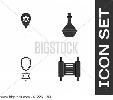 Set Torah Scroll, Balloon With Star Of David, Star David Necklace Chain And Jewish Wine Bottle Icon.