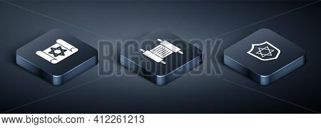 Set Isometric Torah Scroll, Shield With Star Of David And Icon. Vector