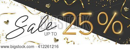 25 Off Discount Promotion Sale Made Of Realistic 3d Gold Number With Sepantine And Tinsel. Vector