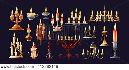 Realistic Candles In Candlesticks Set. Retro Vintage Candle Holders, Chandelier And Candelabrums Wit