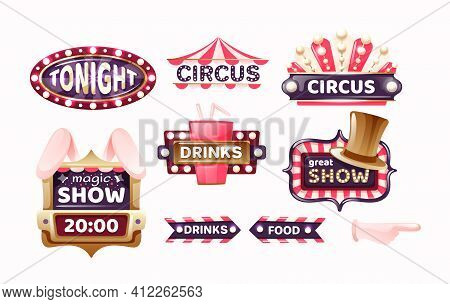 Vintage Circus Labels, Sign Boards And Carnival Signboards, Arrows Elements. Logotype Template For C