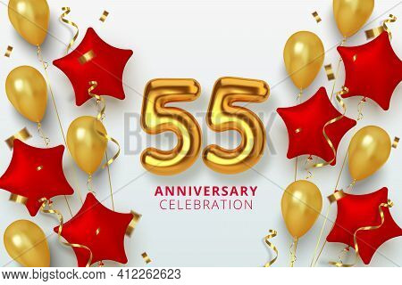 55 Anniversary Celebration Number In The Form Star Of Golden And Red Balloons. Realistic 3d Gold Num