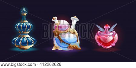 Magic Bottle Jars With Potion. Isolated Magic Bottle Jars With Colorful Liquids. Potion In Glass Bot