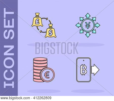 Set Mining Bitcoin From Mobile, Currency Exchange, Coin Money With Euro Symbol And Yen Icon. Vector