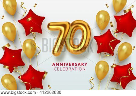 70 Anniversary Celebration Number In The Form Star Of Golden And Red Balloons. Realistic 3d Gold Num